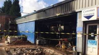 Smoke-damaged garage