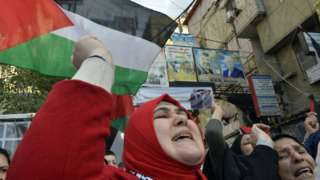 Palestinians protest against President Trump's Middle East peace plan