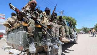 Soldiers backing opposition leaders are seen in the streets of Yaqshid district of Mogadishu, Somalia April 25, 2021