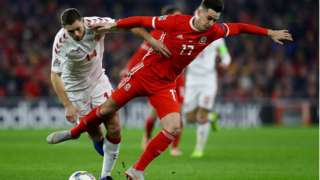 Wales Tom Lawrence in action against Denmark