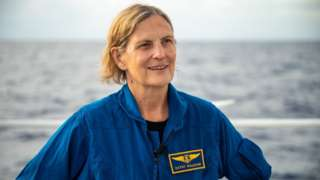 Kathy Sullivan smiles on deck above the Challenger Deep
