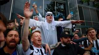 Fans outside St James' Park
