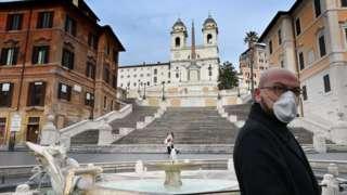 Man in mask in Italy