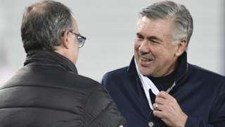 Carlo Ancelotti (right) greets Leeds United manager Marcelo Bielsa