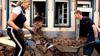 Bad Münstereifel clean-up work after flood, 19 Jul 21