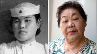 Teruko Ueno no Hospital da Cruz Vermelha de Hiroshima como enfermeira alguns anos após a bomba atômica (à esquerda) e em 2015