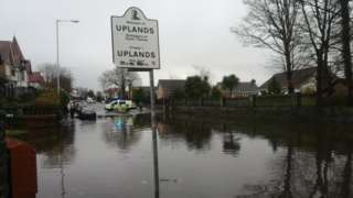 Flooding in Uplands, Swansea