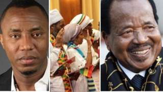 Photo collage of Sowore (left), Ghana Year of Return (Centre), Cameroon President Paul Biya