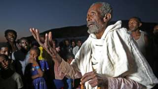 An elderly man in Sudan at a refugee camp for people displaced by the Tigray conflict