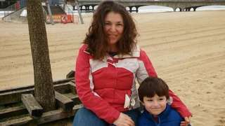 Erika Prisacaru with her six-year-old son Andrei