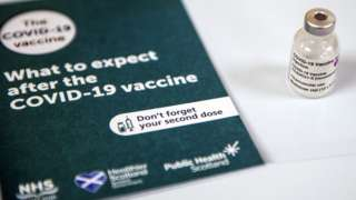 A vial of the AstraZeneca/Oxford Covid-19 vaccine at the Lochee Health Centre in Dundee.
