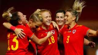 Wales women celebrate goal v Kazakhstan