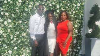 Damion Thompson with daughter Rebecca and wife Linda Rose