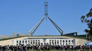 Protesters outside Australia's Parliament House