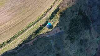 The tent along the Cleveland Way in North Yorkshire