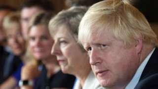 Boris Johnson and Theresa May at Chequers