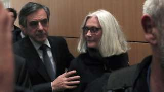 François Fillon and Penelope Fillon appear in court in Paris