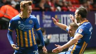 Shrewsbury celebrate Jon Nolan's goal