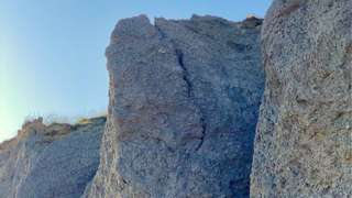 Large crack in cliffs above Seatown Beach