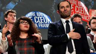 Benoit Hamon (R) and a supporter at a campaign meeting on 17 Jan