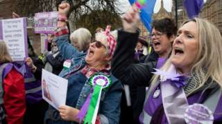 Waspi women protesting in Westminster March 2019