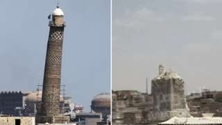 The before and after pictures of the mosque's minaret in Mosul