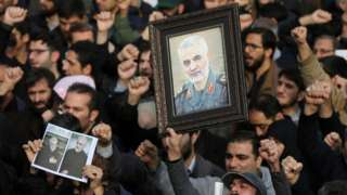 Protest in Tehran against the killing of Qasem Soleimani (3 Jan)