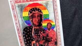 Aktivistlerin yargılanmasına neden olan Meryem Ana tasviri.