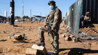 South African soldier in Soweto