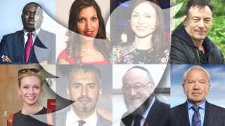 David Lammy, Rosena Allin-Khan, Sophie Ellis-Bextor, Jason Isaacs, Rachel Riley, Maajid Nawaz, Ephraim Mirvis, and Lord Alan Sugar