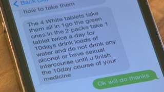 A text message with details of how to take tablets