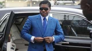 Une photo d'archive prise le 24 juin 2013 montre Teodoro (alias Teodorin) Nguema Obiang, fils du président de la Guinée équatoriale, arrivant au stade de Malabo.