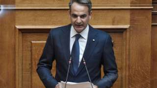 Yunanistan Başbakanı Kiryakos Miçotakis, Perşembe günü Yunan parlamentosuna seslendi