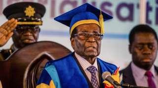 Robert Mugabe gives speech at Zimbabwe Open University