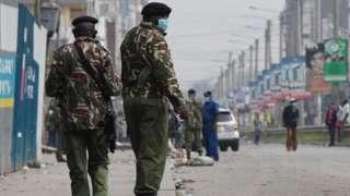 Police patrol in Nairobi, Kenya