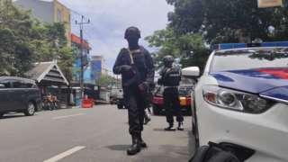 Scene of church bombing in Makassar
