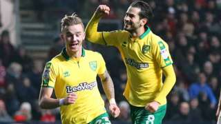 James Maddison celebrates his goal against Bristol City