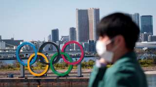 Tokyo Olympic rings in the background with a person wearing a face covering in the foreground