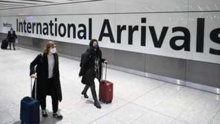 People arriving at Heathrow airport