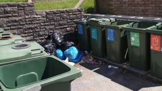 Communal bins at Wildmill, Bridgend