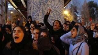 Iran, mahasiswa, protes, pesawat