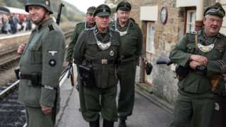 World War Two re-enactors dressed as a German soldiers