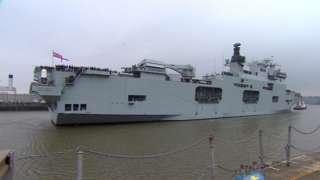HMS Ocean arriving in Devonport