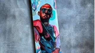 Painted skateboard