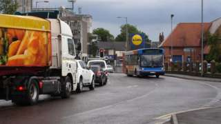 Traffic on a road in Spalding