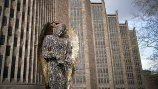Knife Angel at Coventry Cathedral