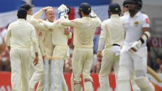 England's Jack Leach celebrates after taking the wicket of Sri Lanka's Kusal Mendis