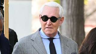 Roger Stone arriving at court for his criminal trial on 14 November
