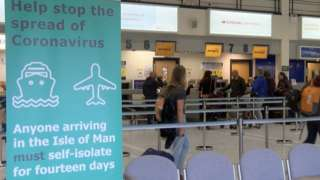 Airport sign about self-isolation