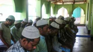 Rohingya Muslim refugees pray at mosque in Ukhia camp - 24 March
